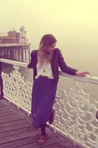 Shellys shoes - Miu Miu top - chiffon pleated Topshop skirt