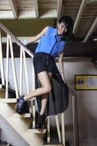 black shorts - white necklace - sky blue blouse - aquamarine bracelet