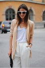 Peach-jacket-white-shirt-black-bag-ivory-glasses-off-white-pants