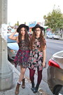 Brown-lace-up-goodwill-boots-black-floral-print-forever-21-dress