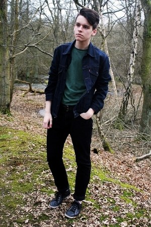 green cotton H&amp;M t-shirt - navy denim Levis jacket - black corduroy H&amp;M pants