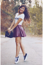 crimson leather Sheinside skirt - black Primark bag - black Maxstar sneakers