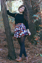 brown handmade skirt - black Lefties sweater - black Primark tights