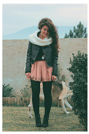 black Sheinside jacket - ivory Primark scarf - peach Solilor shorts