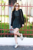 white Zara boots - charcoal gray H&M dress - black Alexander Wang jacket