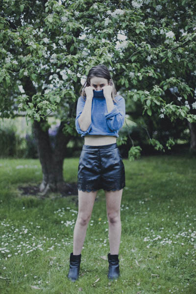 leather asos boots - turtle neck DIY sweater - leather Lumier shorts