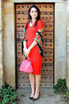 red Zara dress - brown animal print La Strada shoes - red flowers H&M scarf