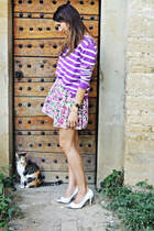 white New Yorker shoes - pink F&F dress - amethyst Zara sweater