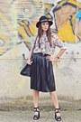 Black-front-row-shop-hat-eggshell-shirt-black-leather-zara-skirt