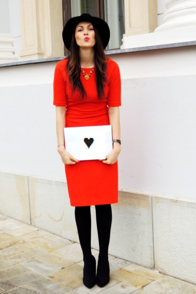 black H&M shoes - red Zara dress - black Front Row Shop hat