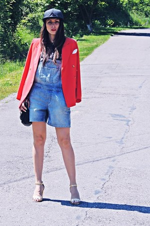black New Yorker hat - orange Front Row Shop blazer - blue Topshop bodysuit