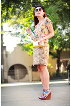 beige Nava blouse - tan printed Nava skirt