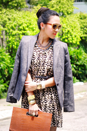 black tribal Sugarlips dress - gray classic Zara blazer
