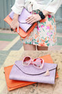 Peach-printed-nava-dress-orange-plain-nava-bag-light-purple-plain-nava-bag