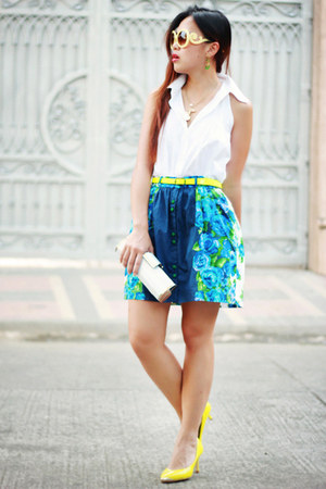 blue floral Nava skirt - yellow neon Nava belt - ivory plain Nava top