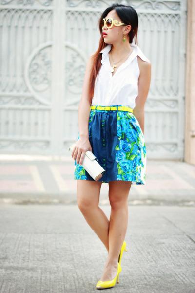 blue floral Nava skirt - yellow neon Nava belt - ivory plain Nava top