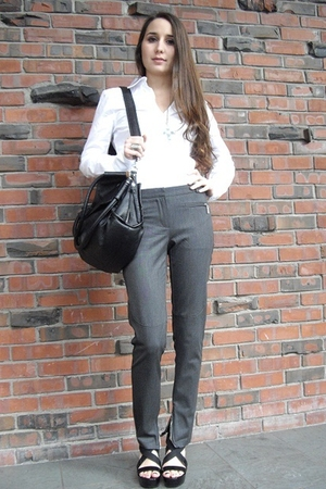 black Aldo shoes - gray Zara pants - white Zara blouse - black accessories