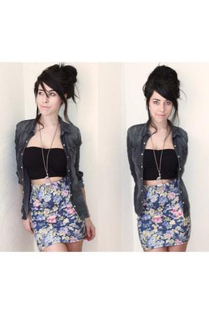 denim Forever 21 shirt - cotten H&M skirt