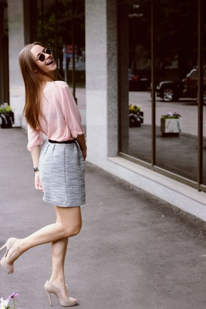 eggshell Barbara Bui shoes - light pink Celine shirt - emporio armani sunglasses