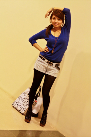 Topshop sweater - memo belt - Terranova shorts - Celine shoes - WAGW stockings -