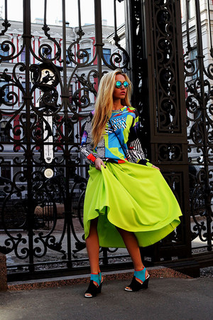 Kenzo boots - chartreuse Front Row Shop skirt - Mr Gugu sweatshirt