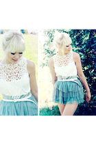 white Lace blouse NewYorker blouse - blue tutu skirt H&M skirt