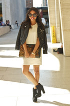 black Nasty Gal jacket - Bebe boots - off white kensie dress