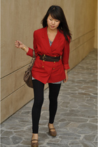 red liz claiborne blazer - black Promod leggings - brown banana republic belt -