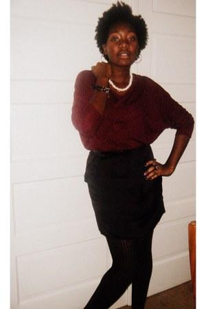 brick red Forever 21 sweater - black Zinc skirt - black Forever 21 tights