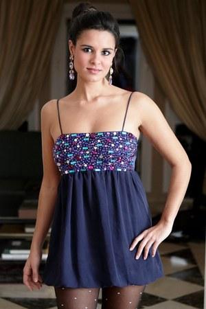 purple dress - black tights - silver earrings