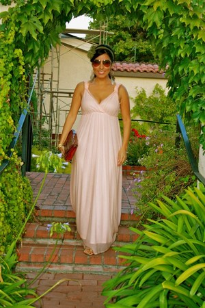 light pink dress - crimson bag - dark brown sunglasses - olive green accessories