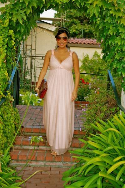 light pink dress - crimson bag - dark brown sunglasses - olive green accessories