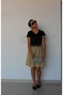 Camel-skirt-black-blouse