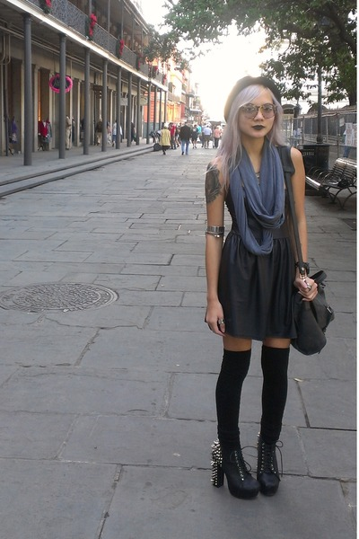 black lame Lush dress - black bowler hat - charcoal gray infinity scarf