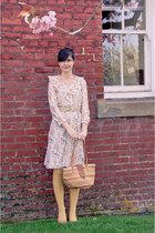Delabelle vintage dress - woven basket Delabelle vintage bag