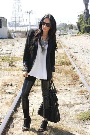 black shoulder pads Zara blazer - black net wedges shoes