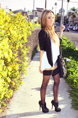 black HAUTE & REBELLIOUS shoes - black H&M blazer - black HAUTE & REBELLIOUS pur