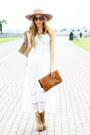 White-panama-dress-tan-jeffrey-campbell-boots-brown-haute-rebellious-purse