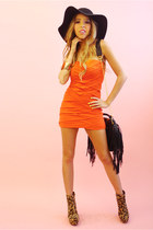 carrot orange strapless dress HAUTE & REBELLIOUS dress