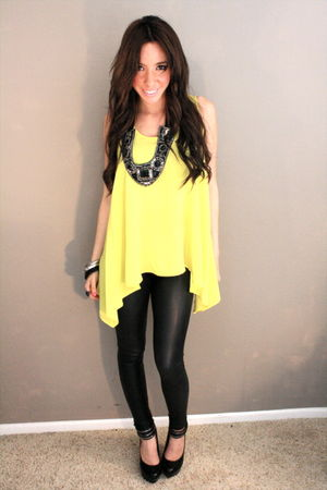 black leather leggings - black platform shoes - yellow neon blouse