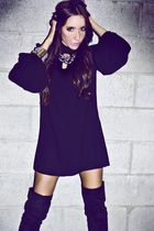 silver accessories - black boots - black long sleeve Soho dress - black