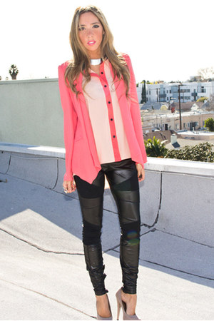 eggshell chiffon HAUTE &amp; REBELLIOUS blouse - hot pink HAUTE &amp; REBELLIOUS blazer