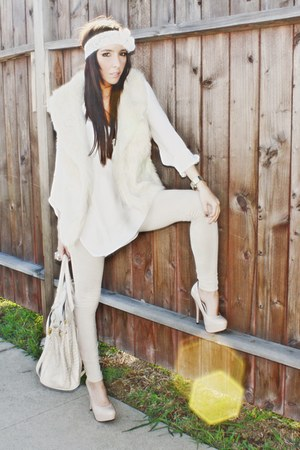 white lace headband accessories - beige platforms SPEED LIMIT 98 shoes