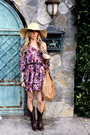 Purple-h-m-dress-brown-target-boots-beige-street-vendor-hat