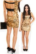 gold MDLC my design dress - black gold accent shoes - black purse
