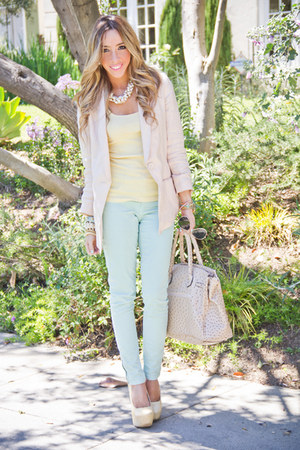 aquamarine Zara pants - light pink H&amp;M blazer - cream HAUTE &amp; REBELLIOUS bag