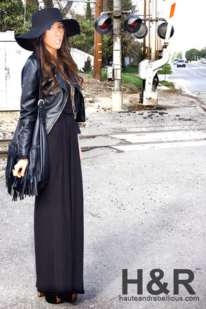 black H&M dress - black Forever 21 hat - black H&M jacket - black H&M purse