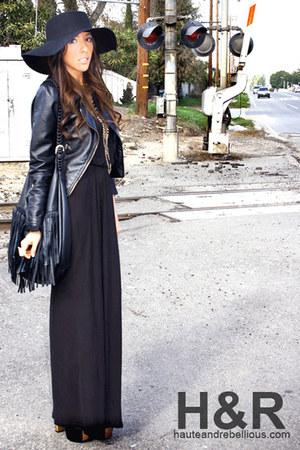 black H&M dress - black Forever 21 hat - black H&M jacket - black H&M purse