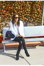 White-zara-blazer-black-h-m-shirt-black-oldies-boots-black-shorts