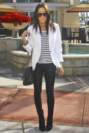 white Zara blazer - black oldies boots - black H&amp;M shirt - black shorts